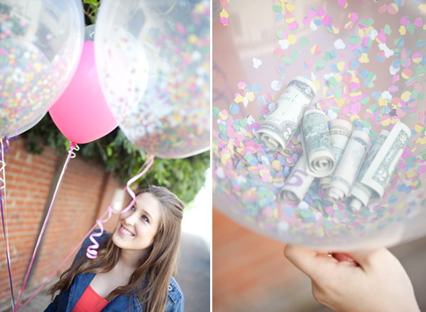 Confetti and Cash Balloon. Balloons are welcomed at every great event for celebration. Surprise the graduate with confetti cash balloons for wealth and festive celebration by filling a clear balloon with colorful confetti and cash rolls.