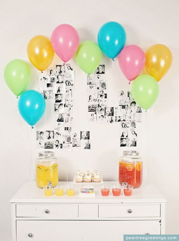 The Year in Photos Graduation Decor. Organize printed photos in the shape of your graduation year, add festive colored balloons for an added touch for your graduation decoration to hit the guests with a fantastic and stunning visual effect.