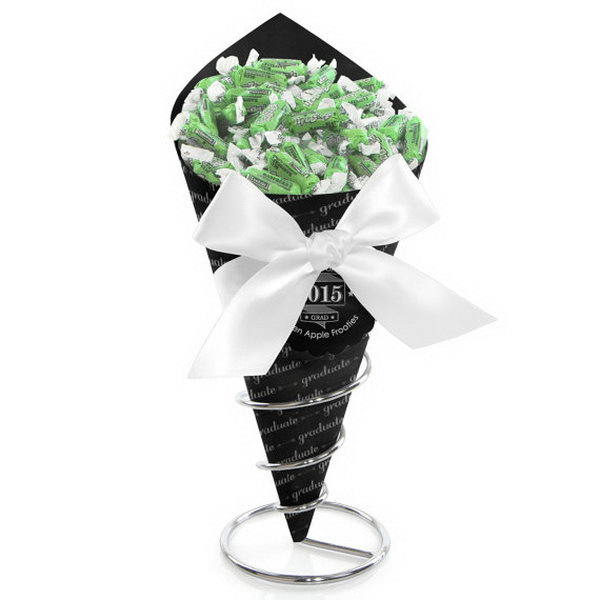 Chalkboard Cheers Candy Bouquet Graduation Decor. Personalize the graduate's large photo as the centerpiece, the sturdy metal stand and cone shaped container will add height and interest to your graduation party display.