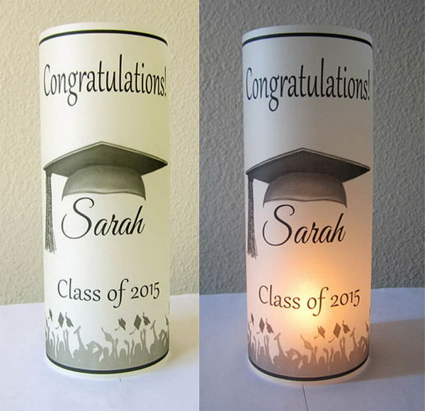 Graduation Party Decoration Luminary. It must be a stunning hit to display these Personalized Graduation Party Centerpiece luminaries at the party. All the guests will enjoy the beautiful glow and ambiance when placed over a battery to operate the tea light.