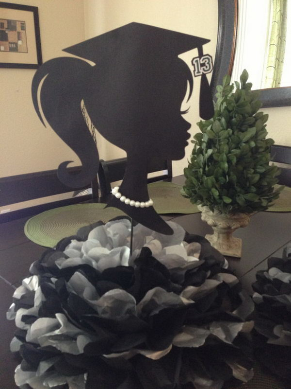 Graduation Decoration Centerpiece. This stunning centerpiece decor features a graduate girl silhouette and huge pom poms down below in single or double color combo as you like. It will catch everyone's attention with no doubt.
