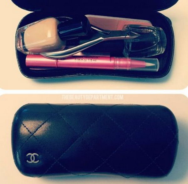 Use old sunglass case for makeup storage. Use an old sunglass case for all of your on the go beauty items. They will stay protected and organized.