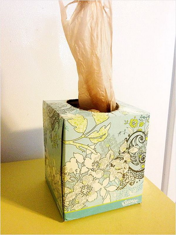 Use your old tissue boxes to store plastic bags. They work perfectly to disperse one at a time. What a clever storage idea.