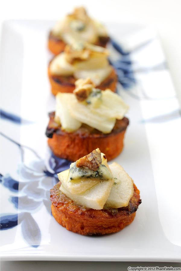 Pear Blue Cheese. This appetizer consists of roasted yams, soft pears and pungent blue cheese. Each element complements with the other perfectly to celebrate your Thanksgiving Party.