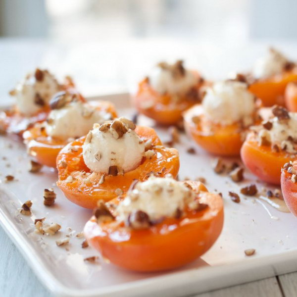 Goat Cheese Stuffed Apricots with Honey. Fill apricot halves with a ball of goat cheese. Finish them off with drizzled honey and sprinkled pecans. It fits well with a casual get together or a late night party.