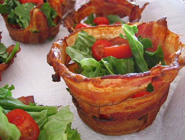 Bacon Cups. DIY this bacon cup with muffin pan, cover foil and weave bacon around it. Bake the bacon into a crispy mini bowl to make it the yummiest thing on the planet.
