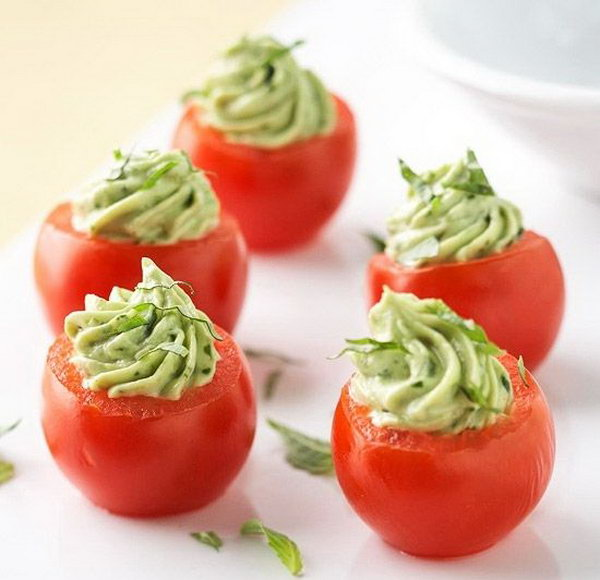 Stuffed Cherry Tomatoes. Stir mayonnaise, bacon, green onion and avocado mixture. Spoon avocado mixture into scooped out tomato shells. Sprinkle some ingredients to add up perfect flavor to treat your guests.