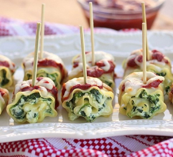 Mini Spinach Lasagna Roll Ups. Prepare this classic comfort food to turn your normal reception into a fun appetizer or party food. Cut the spinach lasagna roll ups into pieces and use toothpicks to poke them through.