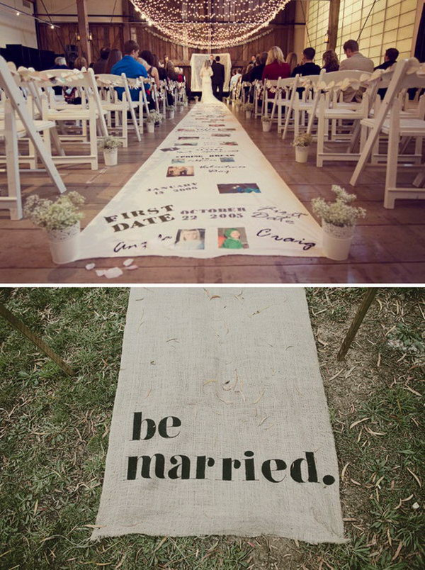 Love Story Aisle Runner. It's fantastic for the sweet couple walk through the aisle decorated with their sweet love story. Incorporate your love story with colorful words and beautiful photographs.