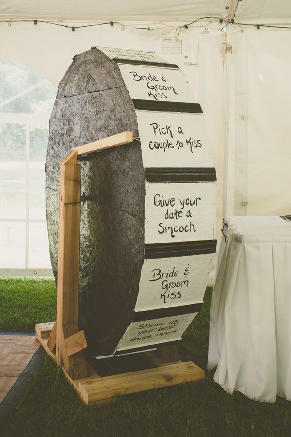 Wedding Wheel. Spin the wheel for a lot of funny schemes for the couple to complete. This creative ideal will definitely bring all the guests laughter and excitement.