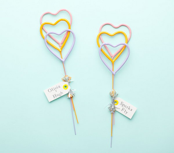 Heart shaped Sparkles. When it comes to departure for the unforgettable wedding ceremony, distribute fireworks with these heart shaped sparkles to enhance your elegant affair.