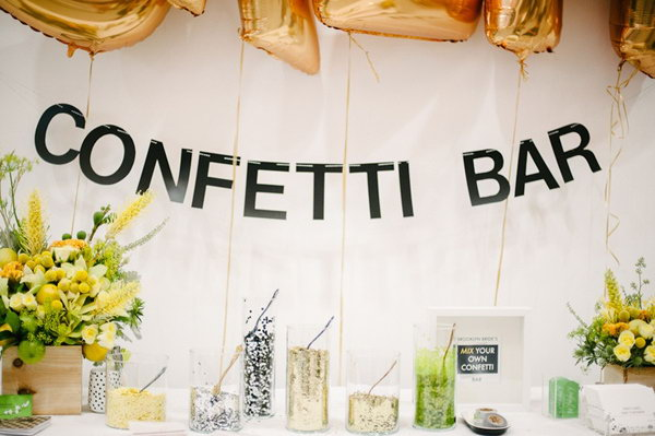 DIY Confetti Bar. The confetti bar has a beautiful garland sign with vinyl letters. There are jars of colorful confetti to mix and match with your characteristic flavor.