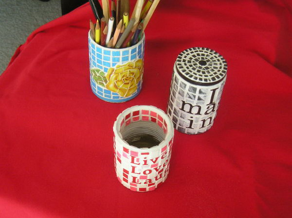 Unique Tiled Pencil Holder.