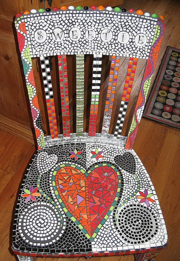 Charming Chair with Tile Ceramics.
