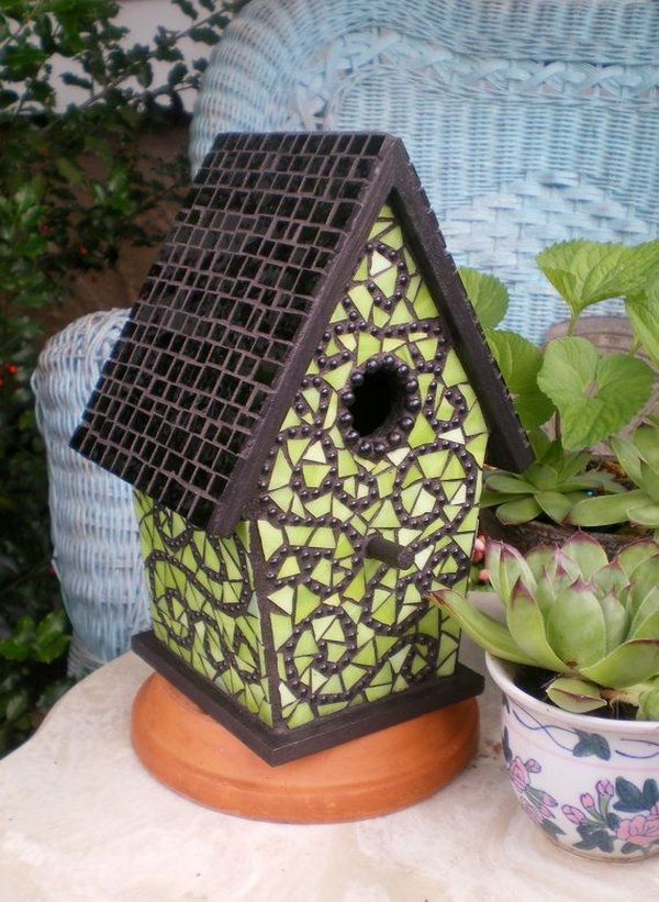 Mosaic birdhouse with Ceramic Tiles.