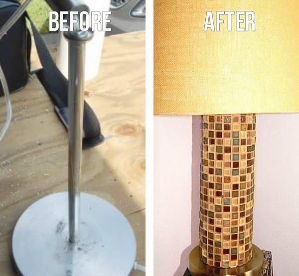 Create a custom lamp with mosaic tile and PVC pipe.
