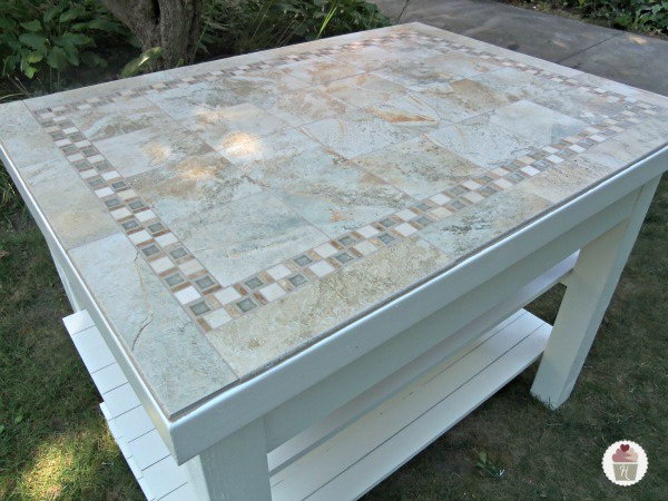 Making Kitchen Island with Ceramic Tiles.