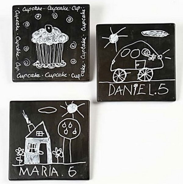Transform leftover Tiles into Chalkboard.