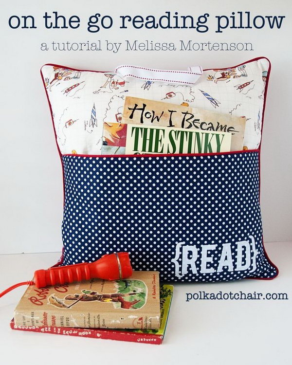Reading Pillow. If you happen to have a friend who like reading at night. It's perfect to sew this reading pillow with a pocket for book for your friends. It's cheap but it may take you some efforts to create this pillow for good usage.