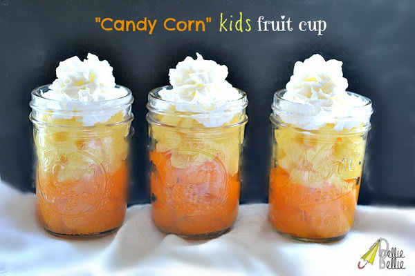 Candy Corn Fruit Cup.  Place a layer of mandarin oranges inside the bottle, add a layer of pineapple above them and top with whipping cream to prepare this delicious gift for your friends without costing you so much.