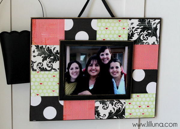 Scrapbook Frame. Paint the board for both sides, arrange scrapbook paper on board to create a beautiful design as you like. Add ribbon and velcro to finish off your unique color coordinated frame gift in low cost.