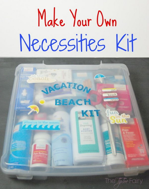 Beach Vacation Kit. This is a thoughtful and practical present for men. It is very sweet of you to prepare specific beach vacation kits for the important men in your life to make their vacation awesome.