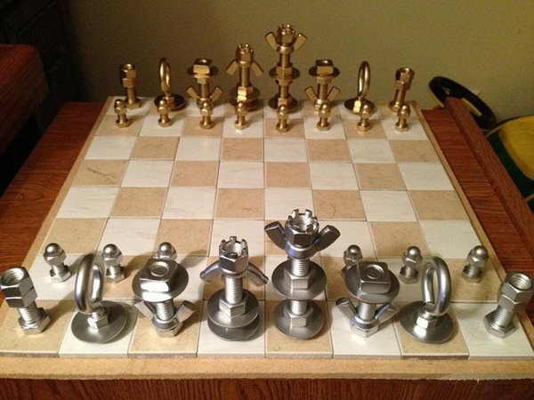 Chess Set. If your favorite man is fond of playing chess, then a distinctive chess set is an amazing gift choice. Use some nuts and bolts to create a personalized set for him.
