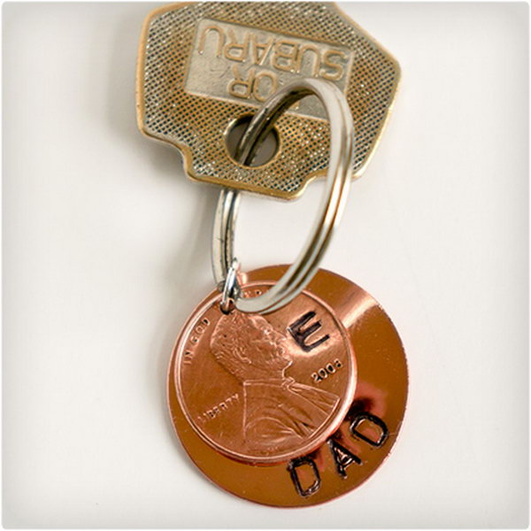 Lucky Penny Keychain. Use a simple penny to create a unique keychain for your favorite man whether it's Husband, Father or Grandfather. This lucky keychain is a wonderful gift to express how fortunate he makes you feel.