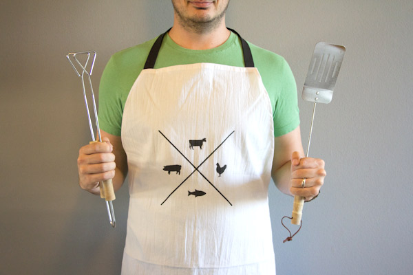 Manly Man Apron. If your father or husband is a big fan of cooking, then making a macho apron for him is a perfect gift idea. And this present is very economic.
