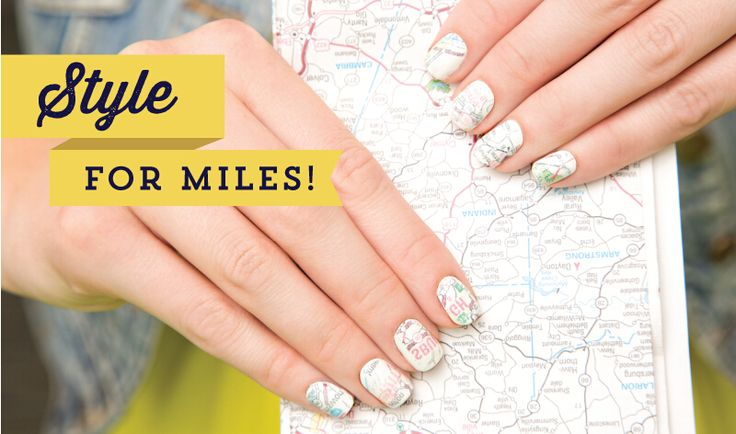 Map Pattern Nail Art. How cute are these nail art inspired by map. It's time to show off your beautiful map patterned nail to your friends.