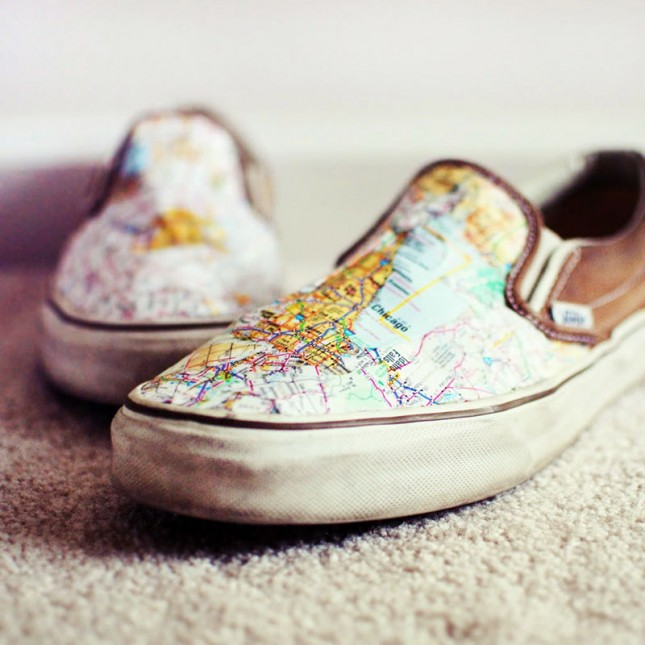 Map Shoes. Add mod podge on the canvas shoes to glue and seal the map pieces. It's really eye catching if you wear this pair of shoes full of artful sense on the street.