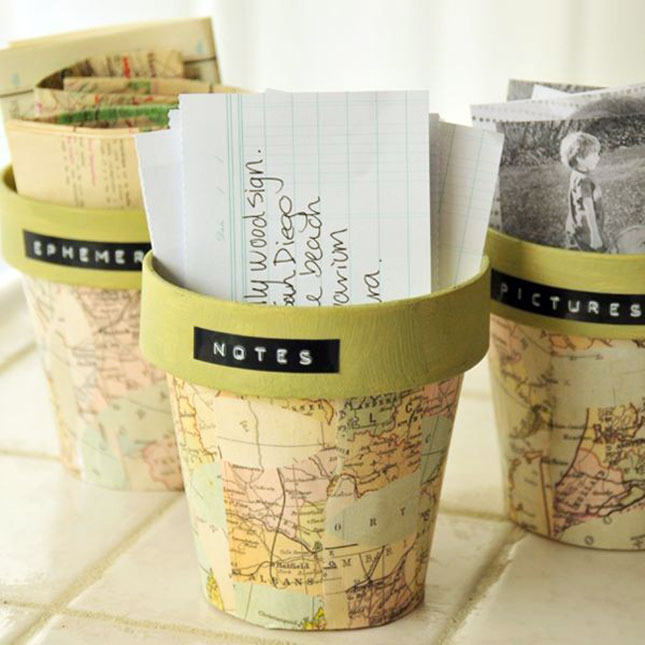 Map Pattern Pot Project. Decoupage torn pieces of the map paper, paint the inside with color coordinates with the map patterned paper. You'll finish off this pot project of map pattern with its fantastic outlook.