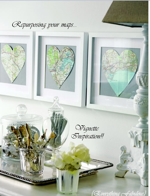 Heart Shaped Wall Art. Cut out your map into a heart shape, frame it up to hang in the room for an elegant decor full of artful sense.