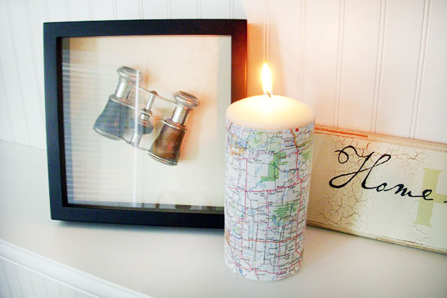 Map Covered Candle. Wrap up your candle with a piece of map from the atlas your collect. You may not burn it for a long time, but it would be super chic to set up a tone for a farewell party.