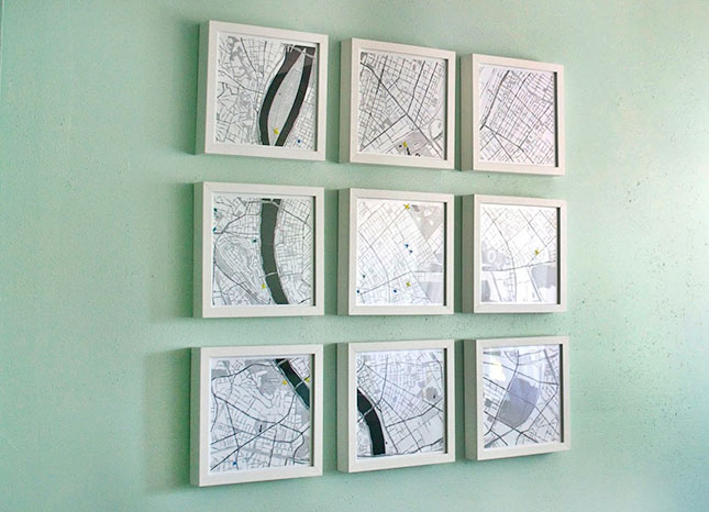 Map Wall Art. Print map tiles with places your often go to on card stock and put them in Ikea frames. Use wax pencils to mark off your favorite places. It serves as a stunning decor to enhance the aesthetic sense of your room decor.