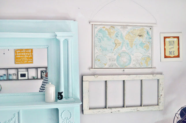 Faux Vintage Pull Down Map. Glue the edge of the map paper to dowel rod. Put nails in each side and twist wire to hang the map.  This vintage piece of art can be hung as wall art or even a window shade if it's large enough.