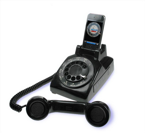Rotary iPhone Speaker Dock. This iPhone stand features the cool outlook that looks like a rotary phone with the dock mounted in the handset cradle and two speakers in the handset proper. Everyone must be impressed by its gorgeous design to display iPhone device.
