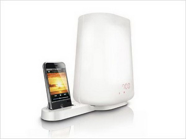 Light Alarm iPhone Dock. This iPhone combines a light alarm as well as an iPhone dock. It's especially designed for you to watch e book or movies at night. With the soft lighting at side, it can protect your eyes with this great iPhone dock.