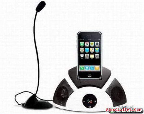 iPhone Dock with Speaker and Mic. As its name suggests, this iPhone dock can also be served as a speaker and free hand mic as well. You can use iPhone to make conference call and listen to your music at the same time. Everything is just so fabulous.