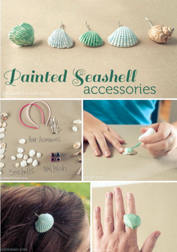 DIY Nail Polish painted Seashell Accessories. Make this beautiful and personalized headband with nail polish and seashells from a plain headband. Tutorials are here.