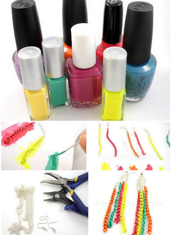 DIY Neon Chain Earrings.  Create this fashionable earrings using chains and your favorite colors of nail polish.
