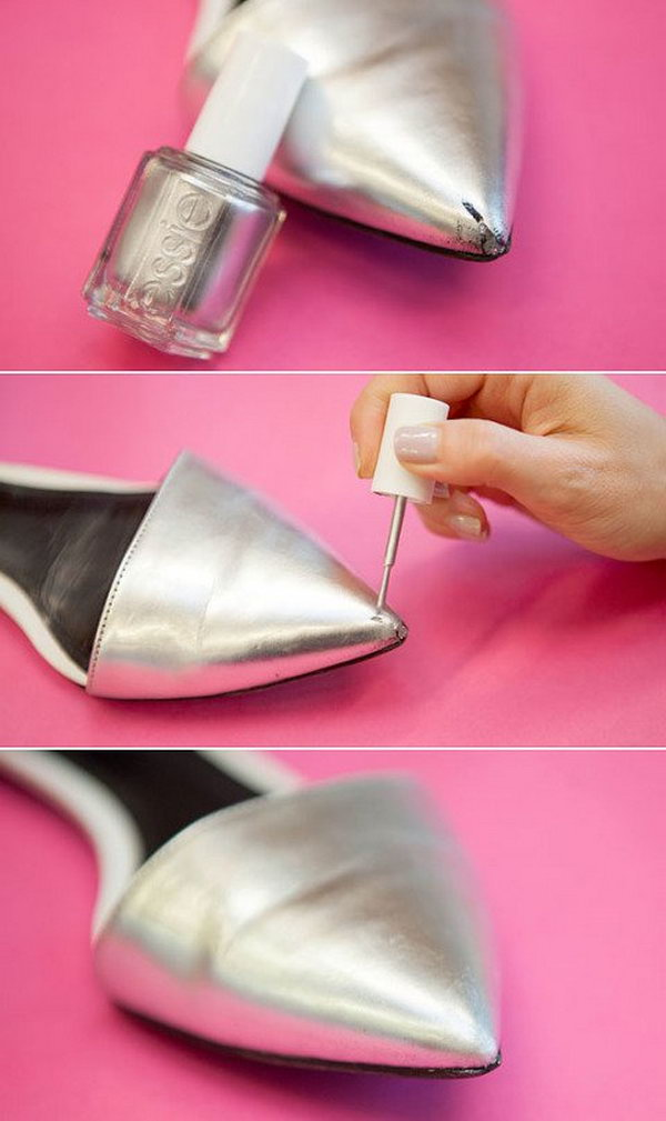 Fix Scuffed Shoes with Nail Polish. Use the same color or the similar color of nail polish to fill wear and tear on your shoes.
