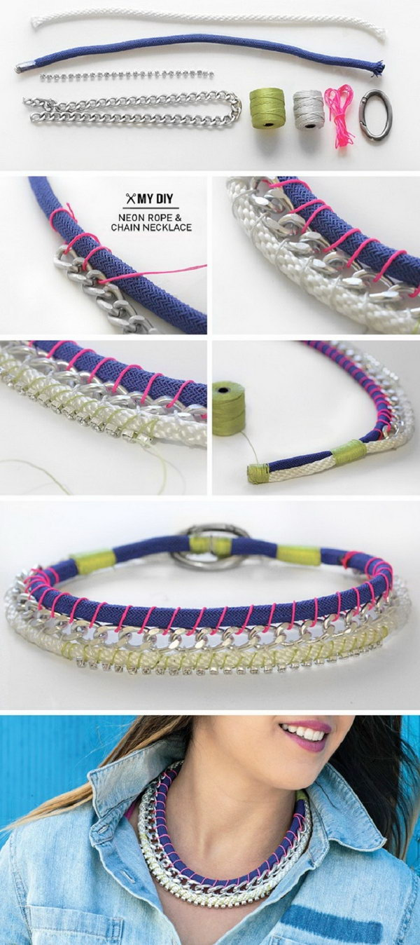 DIY Neon Rope & Chain Necklace. This is a good idea to personalize your own style by wearing this unique neon and chain necklace with rhinestones. It's really a perfect pair for the denim shirt. See the tutorial