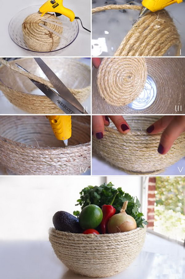 DIY Rustic Rope Bowl. This rustic bowl made with rope is pretty easy to make. It's a perfect summer centerpiece.