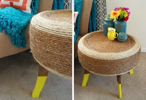 DIY Tire Table with Rope. With little imagination, an ugly tire could become such a beautiful table just with some rope wrapped. See how to make this statement home decor piece