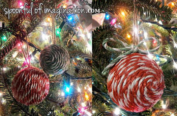 DIY Decorative Rope Balls. Use the clothes line rope and boot laces to make these gorgeous decorative balls and ornaments. They looks so great on the tree with other lighting. See more