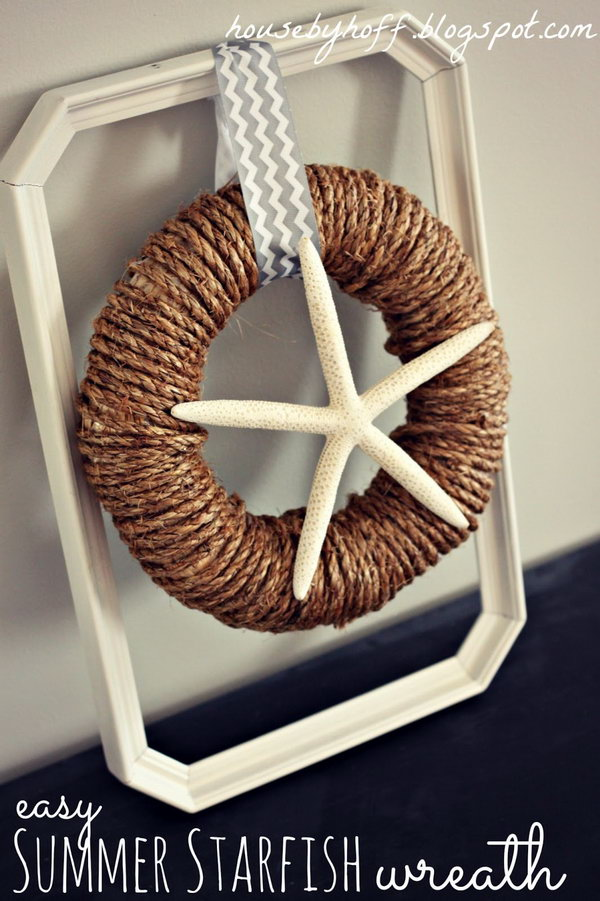 Easy Starfish Rope Wreath. Some rope and a starfish are combined to be this chic and amazing decorative item for your home. Click