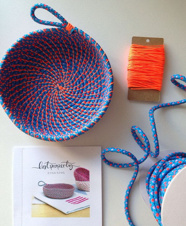 DIY Coil Rope Bowl. Use your discard rope to create this practical coin bowl. It is perfect for the small items in your bedroom.