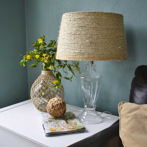 DIY Rope wrapped Lampshade. Transform a boring, plain lampshade into a custom Shade with sisal rope. This is a simple yet novel project.