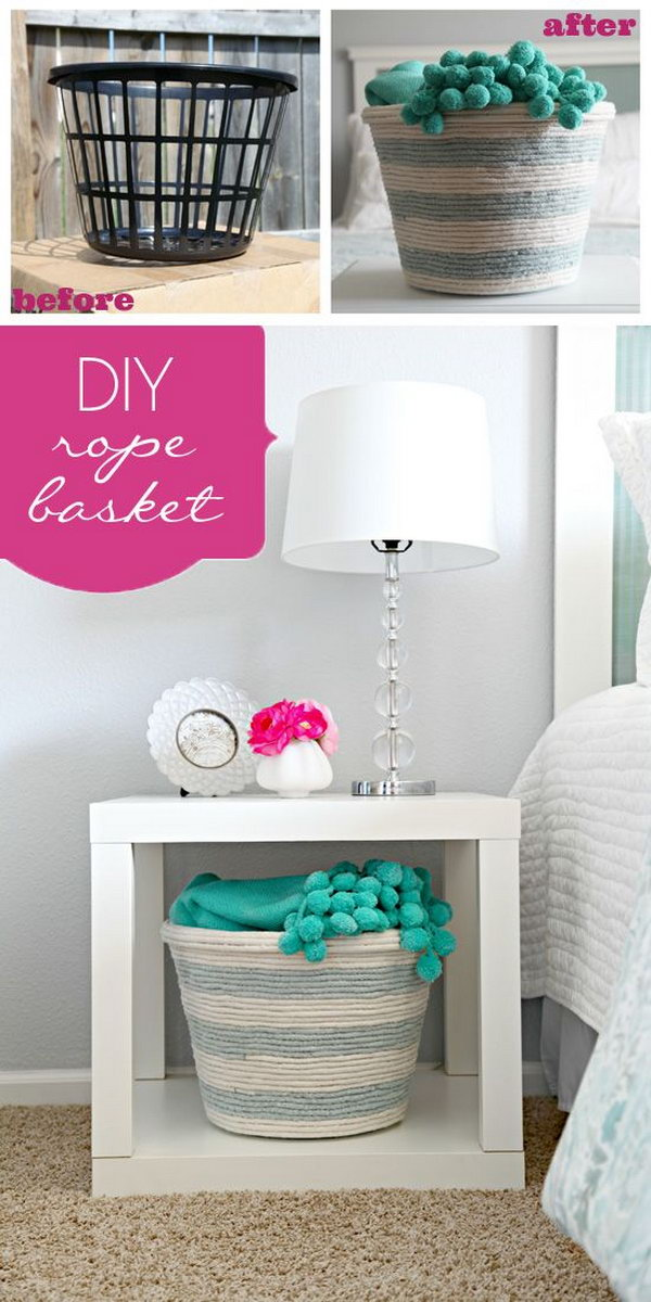 DIY Rope Basket. Get bored with the plain basket from the dollar store? Wrap it with some extra rope in different colors to create this custom rope basket.It absolutely is a guest bedroom budget friendly option.